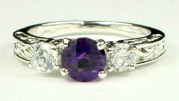 Primary image for SR254, Amethyst w/ CZ Accents, 925 Sterling Silver Engagement Ring