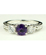SR254, Amethyst w/ CZ Accents, 925 Sterling Silver Engagement Ring - $54.82