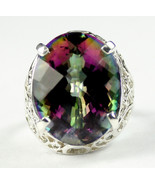 SR291, 20x15mm, 22ct Mystic Fire Topaz, 925 Sterling Silver Ring - $520.08