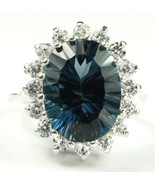 SR310, Quantum Cut London Blue Topaz, 925 Sterling Silver Royal Engageme... - $365.92