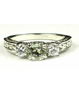 SR254, Green Amethyst w/ CZ Accents, 925 Sterling Silver Engagement Ring - $46.65