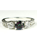 SR254, Mystic Fire Topaz w/ CZ Accents, 925 Sterling Silver Engagement Ring - $48.76