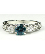 SR254, Paraiba Topaz w/ CZ Accents, 925 Sterling Silver Engagement Ring - $54.82