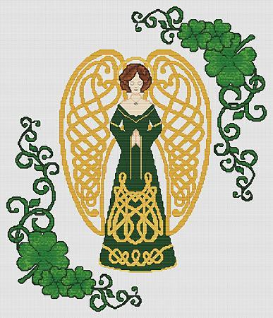 Shamrock Celtic Angel cross stitch card chart Artist's Alley