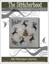 Reindeer Games christmas primitive cross stitch chart The Stitcherhood - $7.20