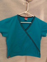 Dickies Scrub Top V Neck Women's XS Short Sleeve 2 Front Pockets Teal-medical - $6.92