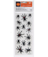 15 count Halloween Creepy Crawly Black Spiders Stickers Red Eyes age 3+ - $0.99