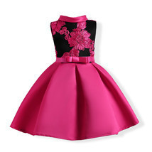 Fuchsia Satin Short Flower Girls Dresses A Line Embroidery Bow Prom Gown... - $25.99