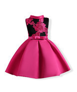 Fuchsia Satin Short Flower Girls Dresses A Line Embroidery Bow Prom Gowns Sexy - £19.94 GBP