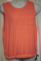 NEW WOMENS PLUS SIZE 3X NEON CORAL RIBBED TOP START MOVING REFLECTIVE LE... - $14.50