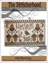 Blessings autumn thanksgiving primitive cross stitch chart The Stitcherhood - $7.20