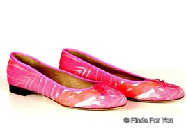 J Crew Kiki Printed Ballet Flats Size 9 Style# 70388 $158 Neon Pink Mult... - $48.21