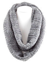 Sparkeling Ribbed Knitted Soft Infinity Scarf (Beige) (Gray) - £13.94 GBP