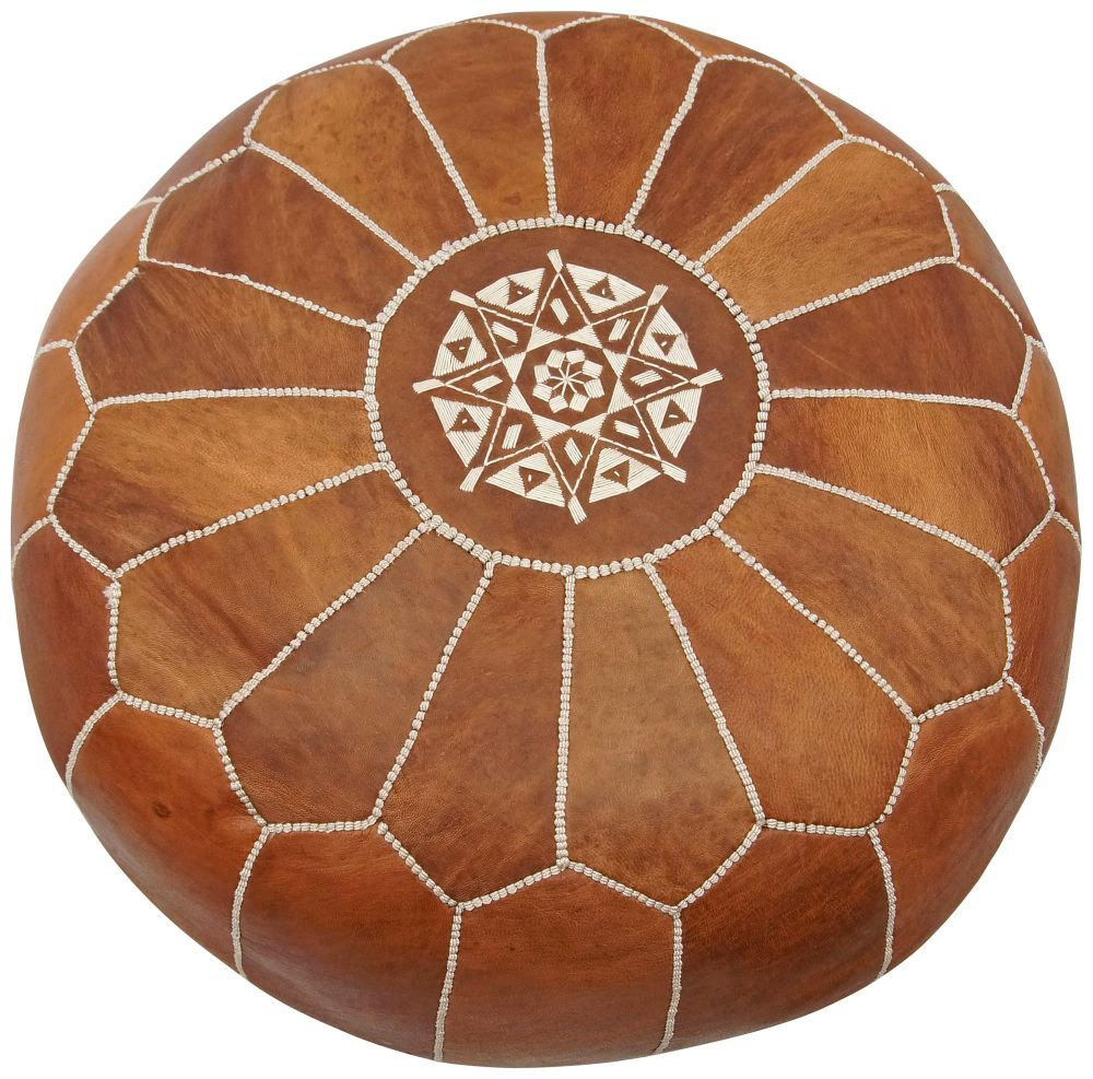 moroccan leather pouf tan pouffe poufs ottoman poof chair stool footstool home garden. Black Bedroom Furniture Sets. Home Design Ideas
