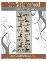 Santa's Reindeer christmas primitive cross stitch chart The Stitcherhood - $7.20