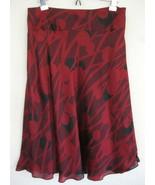 NWT Calvin Klein Silk Skirt 8 Red Black Scarlet... - $47.99
