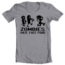 Zombies Hate Fast Food T-shirt Walking Dead funny runner 100% cotton graphic tee image 2