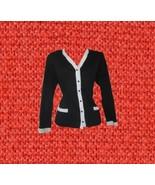 1970s vintage coco black white trim cardigan jacket size medium large 8 10 - $54.99