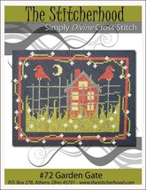 Garden Gate farmhouse primitive cross stitch chart The Stitcherhood - $7.20