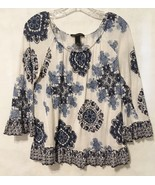 Inc Blue White Top Shirt Ruffled 3/4 Sleeve Size M Blouse Rayon Stretch ... - $20.00