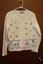 Croft & Barrow Sport Polar-Tec Button Down Sweater- Snowmen & Snowflakes... - $9.99