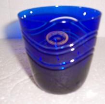 COBALT BLUE HAND MADE HAND CUT 24% Pbo GLASS - $84.44