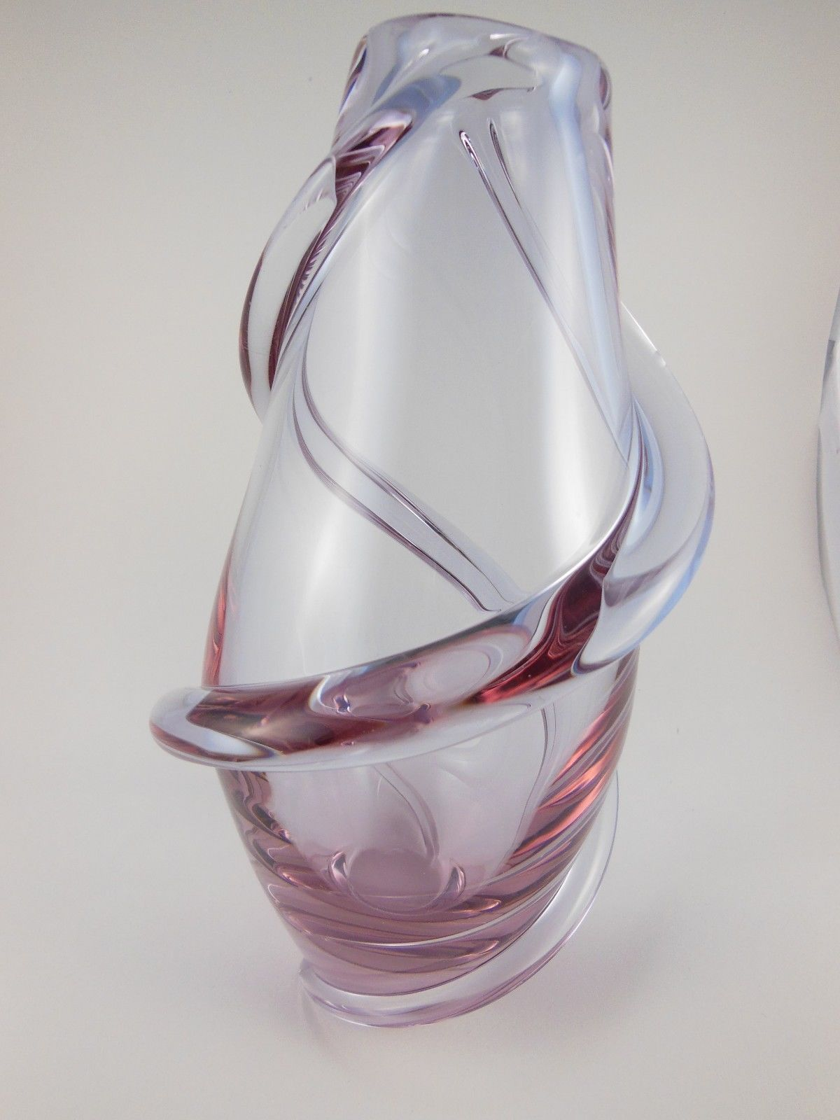 "Primary image for 8""  Pink Crystal Vase with Spiral design Gordeius and heavy"