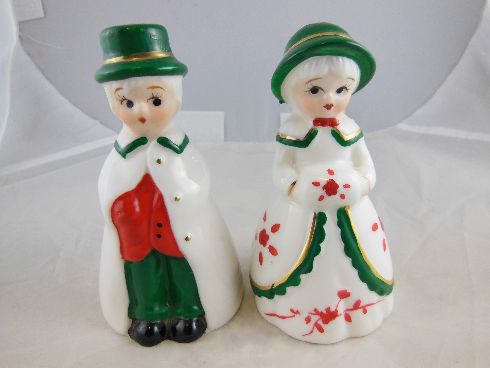 "Primary image for Boy & Girl Victorian Style  Porcelain Christmas Bells Good Quality 4"" VINTAGE"