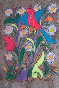 COLORFUL AMATE BARK MEXICAN LATINO FOLK ART PAINTING