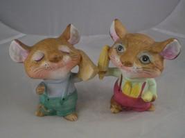 "Home Interiors Homco set of cute 4"" Porcelain Mice Very Cute - $5.88"