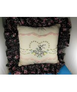 Hand Embroidered & Crochet Decorator Throw Pillow One of A Kind Vintage ... - $22.86