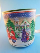 Vintage Lefton China  Mug Cup Christmas Victorian Village Scene 1991 Beautiful - $9.00