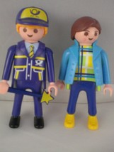 Playmobil people figures Geobra 1997 and 1992 girl and uniformed man nav... - $5.88
