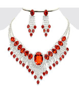 Elegant Designer Silver Red Crystal Necklace Bib Collar Pendant Earring ... - $51.00