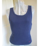Navy Tagless Tee Top Sleeveless Hanes Brand Large SZ This is a ribbed te... - $7.99
