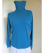 Leon Levin Deep Turquoise Turtleneck Size Medium Label reads: 60 % cotto... - $12.99