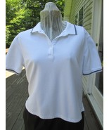 Karen Scott White Top with Navy Trim on Sleeves and Collar Label reads :... - $17.99