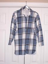 Shirt Tailed Top blue white plaid - $16.89