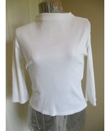 Crossroads White Knit Top Large Form Fitting ¾ Length Sleeves. Label rea... - $16.89
