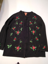 1X L  womens Christmas sweater beautiful Classic black, beading and embr... - $22.51