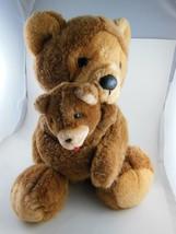 "Adorable Vintage Dakin Teddy Bear Mother & Cub 14"" Korea 1988 - $34.64"