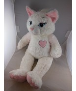 "Awesome 19"" Build a Bear White Cat Plush Blue Eyes & Pink Heart Feet & Ears - $14.25"