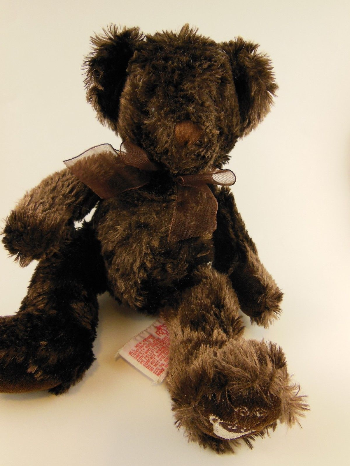 "Primary image for Rare Russ Berrie Teddy Bear Plush 9"" Chocolate Embroidered Cup Cocoa on Foot HTF"