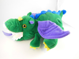 "12"" Green Dragon Hand Puppet with Purple Wings Plush Creations Inc - $10.09"
