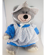 """Country Bear in Bonnet & Dress with Pinafore  Ear tag 15"""" Vintage Wallac... - $19.89"""