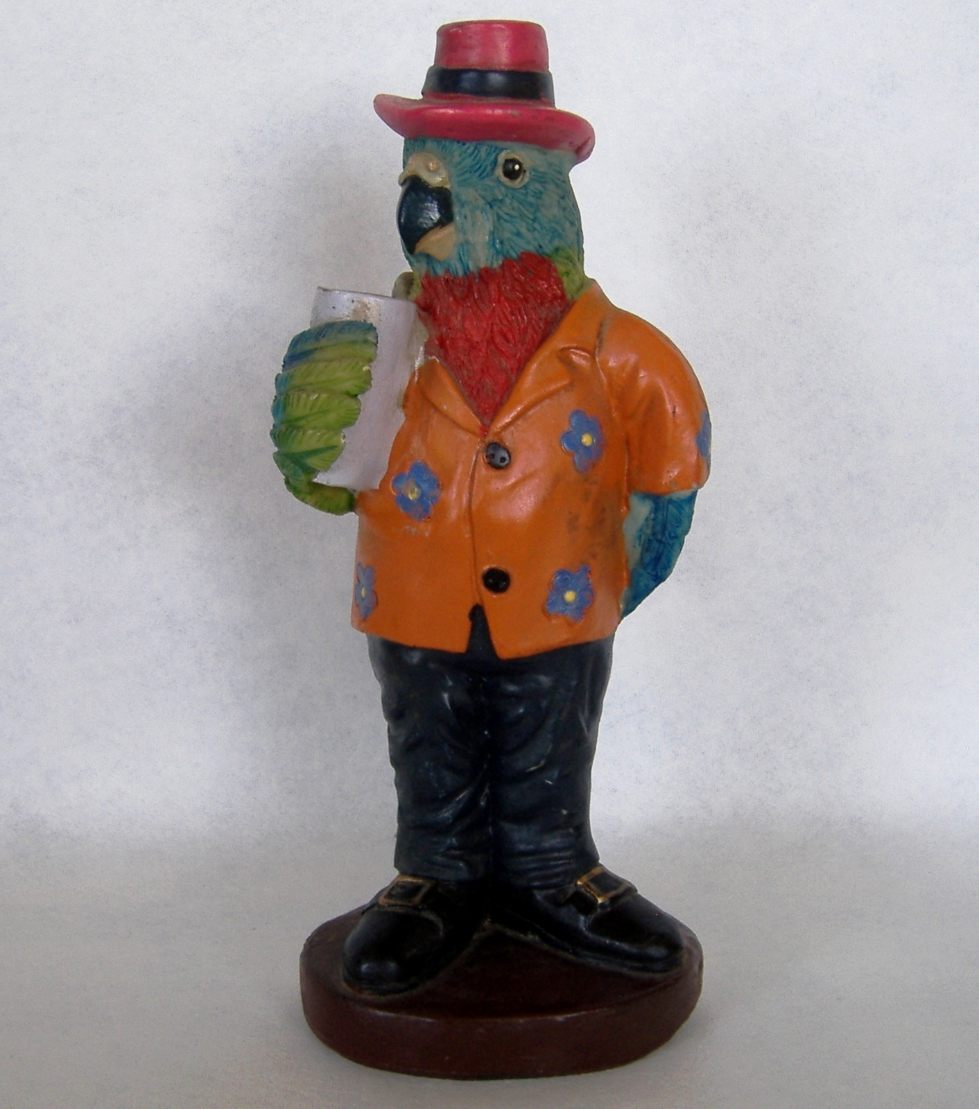 Primary image for Parrot Statue Figurine Hawaiian Shirt Hat Drink Whimsical Bird Animal Colorful
