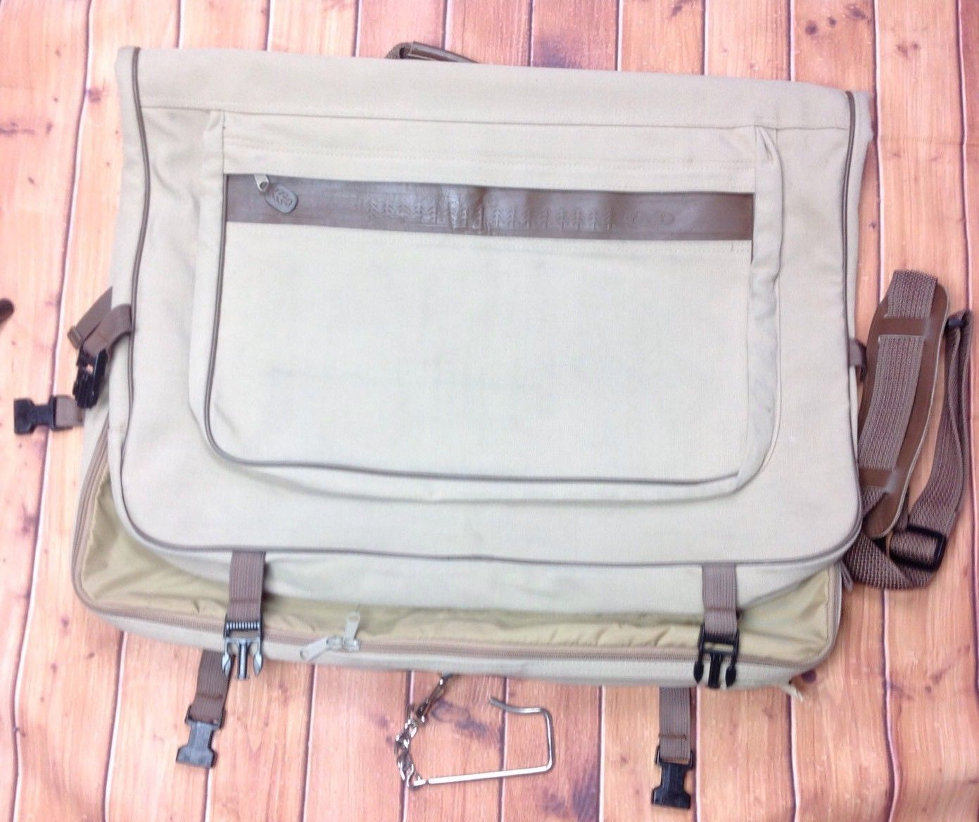 87b6146f09 S l1600. S l1600. Previous. Eddie Bauer Ford Tan Canvas Folding Hanging Suit  Garment Bag Dress Luggage Beige