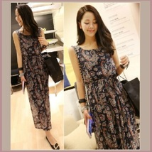Vintage Floral Paisley Bohemian Long Chiffon Maxi Sleeveless Tank Dress