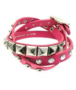 Fuchsia 3-Effect Stud Italian Calf Leather Wrap... - $27.60