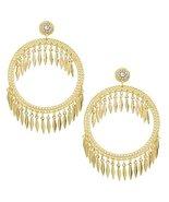 Draped Tassel Dangle Hoop Crystal Earrings Gold - $17.00